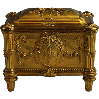 Antique Napoleon III Gilt Bronze Casket Box