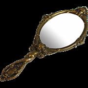 Antique French Bronze Hand Dresser Mirror with Putti