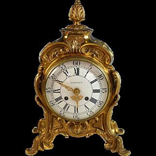 Vintage French Charvet Lyon Gilt Bronze Mantle Clock Serviced