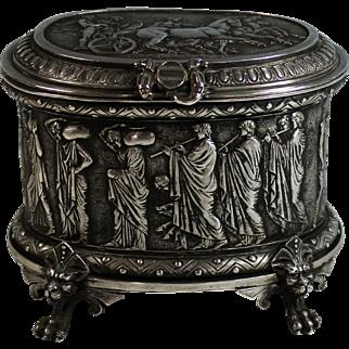 Antique Silver Plate Repousse Box Roman Theme Silverplate