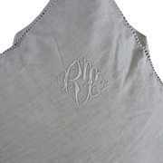Pair French Monogrammed Linen European Pillow Shams