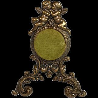 Vintage Bronze Pocket Watch Holder Porte Montre with Putti