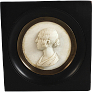 Antique French Marble Profile Miniature in Frame