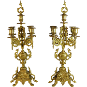 Pair of Louis XV Style Gilt Bronze Five Light Candelabra