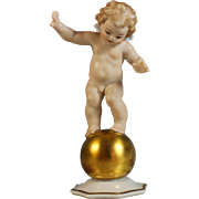 Signed Hutschenreuther LHS Selb, Kunstabteilung Cupid on Orb Figurine