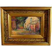 Oil on Panel Impressionist Painting of a Cottage signed A. Bouguet