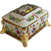 Vintage Capodimonte Hinged Jewelry Box with Putti