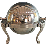 Vintage Silver plate Roll Top Caviar, Butter Dish Silverplate