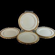 "Eight Antique Minton Raised Gold gilding 10.5"" Dinner Plates H1916"