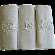 Set of Seven Antique French Linen Monogrammed Napkins J A