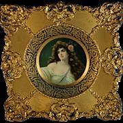 Antique Vienna Art Plate Meek, Metal, With Frame