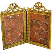 Antique French Bow Top Gilt Bronze Double Picture Photo Frame