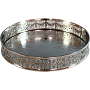 """Antique Sheffield Silver Plate Reticulated 9 1/2"""" Gallery Tray Silverplate"""