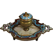 Antique French Bronze Inkwell Champleve Enamel on Marble Base Cloisonne