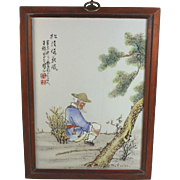 Antique Chinese Republic Porcelain Plaque Tile Signed