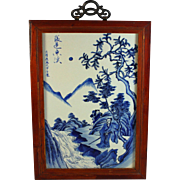 Old Fine Chinese Blue and White Porcelain Plaque Signed