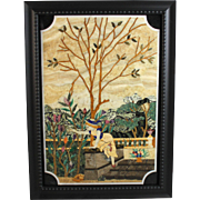 Pietra Dura Framed Plaque with Girl in a Flower Garden
