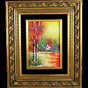 Vintage Enamel on Copper Impressionist Landscape Painting w/Frame ca 1965