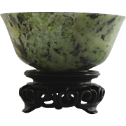 Fine Antique Chinese Spinach Jade Bowl - Thin-Walled, Highly Translucent