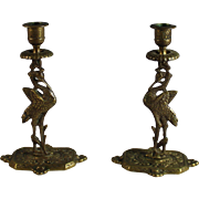 English Pair of Figural Bronze Candlesticks Candle Holder, Crane Bird