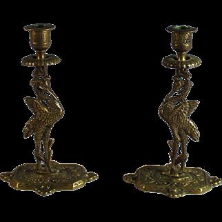 English Pair of Figural Bronze Candlesticks Candle Holder, Crane Bird