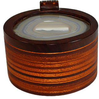 Lester Kish Hand Made Round Wood Box with Stone Top