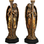 Pair of Vintage Gilded Composite Angel Candle Holders