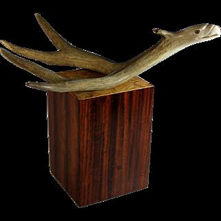 Vintage Stan Hill Eagle Sculpture made of an Antler