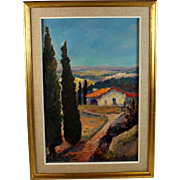 Oil on Canvas painting of a Provincial Landscape by listed French artist Marie Valingot