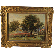 Oil on canvas landscape Barbizon School signed Macle