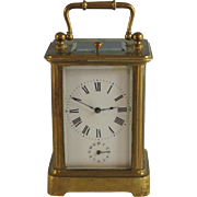 French Antique Carriage Clock with Alarm Brass Case and Leather Traveling Case