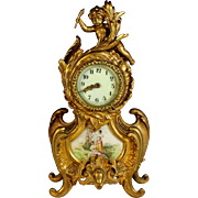 Antique Gilt Bronze New Haven Clock Co. Porcelain-Faced Mantle Clock with Cherub