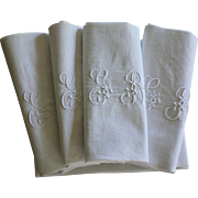 Ten Antique French Linen Napkins Monogrammed G B plus 2