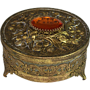Vintage Ormolu Reticulated Box with Glass Liner
