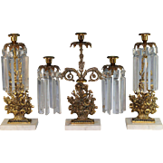 3 Piece 19th c American Girandole Set with Flower Baskets