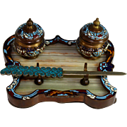 Antique Double Inkwell Bronze Champleve Enamel on Marble Base, Cloisonne