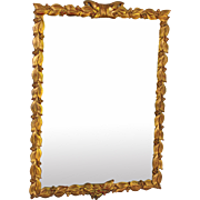 Vintage Gilded Wood Mirror with Ornate Floral Frame