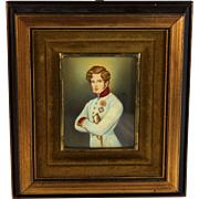 Miniature Portrait Painting of a French Officer in Period Frame 19th Century