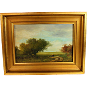 French School Oil Painting of a Country View