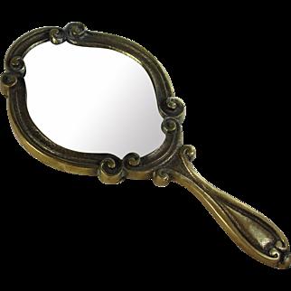 Antique French Bronze Hand Dresser Mirror with Scrolls
