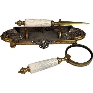 Antique French Bronze Desk Set Pen Tray, Magnifier and Letter Opener