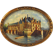 Oil on Panel Painting of Chateau Chenonceaux by R. J. Reumier