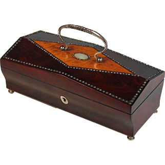 Palais Royal Keepsake Box with Handle and Mother of Pearl Inlays and Faceted Steel-cut Nails