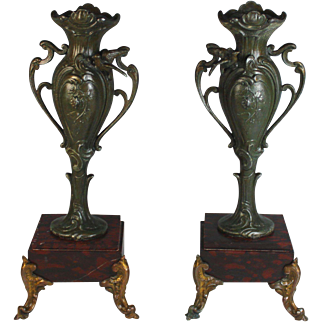 Pair of Antique French Bronze and Marble Garnitures Urns Red and Black Marble