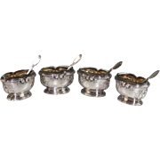 Set of 4 Antique French Sterling Silver Open Salts with Matching Spoons