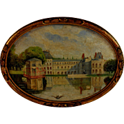 French Oil on Panel Painting of a Chateau by F Beadrier