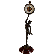 French 19th C Aneroid Barometer supported by Bronze Mercury after Giambologna (1529-1608)