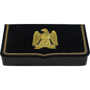 Antique French Napoleon III Leather Box with Gold Eagle