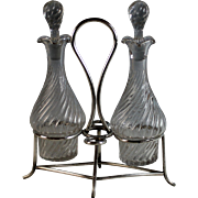 Antique  French Silverplate Oil & Vinegar Cruet Set Silver Plate