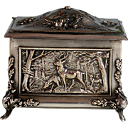 Antique French Silverplate Repousse Box Hunting Theme Silver Plate